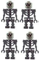 Lego 4x graues Skelett rot schwarze Augen white skeleton red eyes gruselig Neu