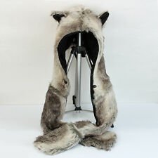 Brown Bear 3 In 1 Function Faux Fur Animal Hood Hoodie Plush Warm Hat Scarf Gift