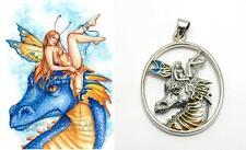 Dragon Feary Sterling Silver fairy pendant by fantasy artist Selina Fenech .925