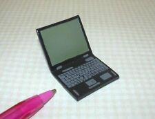 Miniature BLACK Resin Laptop Computer w/Painted Screen and Keys: DOLLHOUSE 1/12
