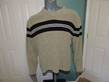 George Gray Striped V-neck Loose Fit Soft Sweater Men's Size M Ribbed Knit