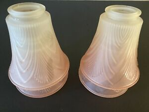 Vintage Ceiling Fan Glass Shades Frosted Pink Raised Pattern Shells Set  Of 4