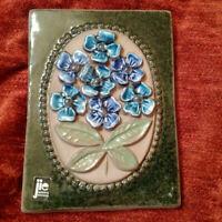 Keramiktavla Jie Gantofta Sweden signed 1978 céramique fleurs plaque wall mint