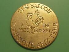 Vintage Gem Saloon Tombstone Arizona. Terr. Good For All Night Brass Token