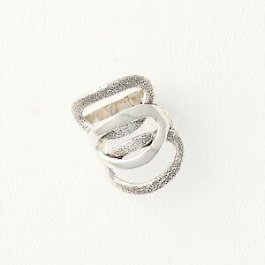 14k White Gold Filled Ring for Women, Large Casual Band with Ovals