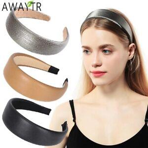 Women's Bezel Headband Hairband Wide Faux Leather Hair Band Hoop Accessories