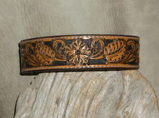 Gorgeous Custom Leather Dog Collar Full Floral Tooled, size M.  G&E