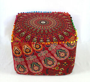 """22"""" Large Indian Mandala Cotton Square Ottoman Pouf Cover Footstool Seating"""