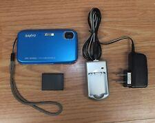 Genuine Sanyo (VPC-TP1000) Blue Touchscreen Digital Camera w/ Wrist Strap Bundle