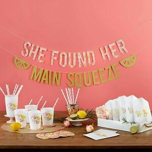Main Squeeze Lemonade Bridal Shower Party Kit - Banner Cups Straws Bags MW36677