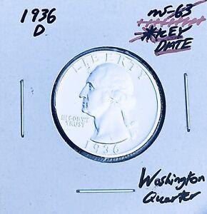 1936-D BRILLIANT UNCIRCULATED KEY DATE!  U.S. WASHINGTON QUARTER. E7