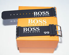 HUGO BOSS ORANGE RUBBER BAND BLACK STRAP FOR APPLE WATCH 44MM SERIES 5
