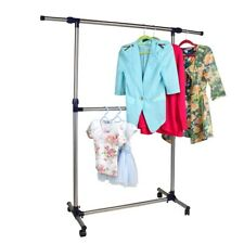 Rolling Clothes Rack Single Rail Hanging Garment Bar Heavy Hanger Portable