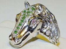 GENUINE 0.98ct! Tsavorite Garnet & Pink Sapphire, Horse Head Ring, Silver 925!