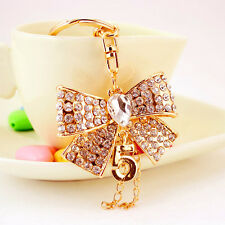 Rhinestone Crystal Bow Keyring Charm Pendant Purse Bag Key Ring Chain Keychain