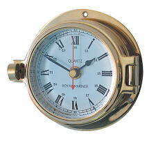 Authentic Nautical Clock, hinged bezel, quality brass construction