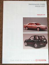 1997 TOYOTA PRICE LIST inc Celica 25th Anniv, MR2, Hilux, Hiace, Paseo,L/Cruiser