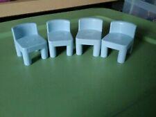 Vintage Little Tikes Dollhouse 4 Blue Chairs