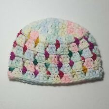 New listing Handmade Crochet Beanie Nwt Rounded Gift Blue Multicolor Bright Accents Toddler