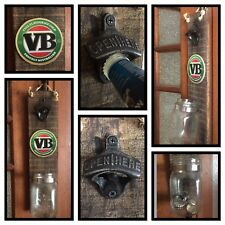 VB Wall Mounted RUSTIC LOOK BOTTLE OPENER - Man Cave BBQ Beer Sign Glass
