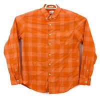 J Crew Men's Orange Check Plaid Medium Button Down LS Shirt Free Shipping EUC