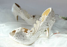 "Unique WHITE IVORY Open Toe Wedding shoes Satin Bridal high heels evening 3""heel"