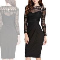 Abito pizzo donna vestito vestitino maniche lunghe cocktail nero elegante