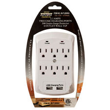 6 AC Outlet Wall Mount Tap Surge Protector Adapter with Dual USB Charging Port