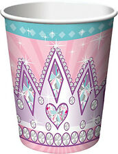PRINCESS PARTY 9oz PAPER CUPS (8) ~ Birthday Supplies Beverage Drinking Pink