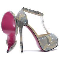 Damen High Heel Peep Toes in Tarnfarbe mit Perlmutt Strass und Rosa Rote Sohle