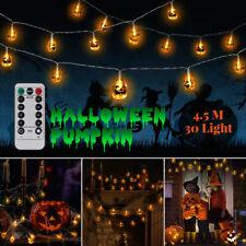 30LED Pumpkin Fairy String Light Halloween Party Outdoor Decor Hanging Prop Lamp