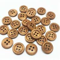 20 Bouton rond 12 mm 4 trou bois brun Scrapbooking Mercerie couture décoration