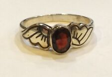 Sterling Silver Niello Garnet Wing Mount Ring Size M