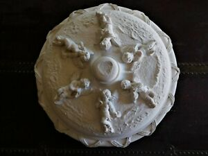 ANTIQUE VINTAGE CEILING MEDALLION WITH CHERUBS NEOCLASSICAL ORNAMENT PLASTER