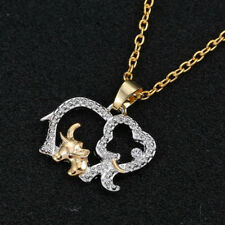 Vintage Retro Double Elephant Charm Pendant Gold Chain Choker Necklace Gift
