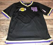 New V Neck Jersey Shirt Lakers Size 48 NBA Los Angeles Youth Boys 10/12 Black