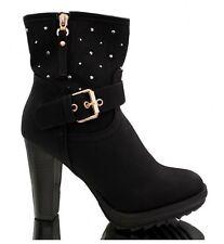Damen Stiefel Stiefeletten Ankle Boots High Heels Blockabsatz Niete schwarz 36