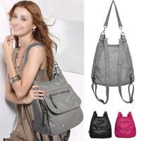Convertible Faux Leather Backpack Rucksack Daypack Shoulder Bag Purse Travel