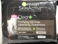 25 GARNIER SKIN ACTIVE Purifying Oil-Free Cleansing Towelettes ~ Oily Skin ~ NEW
