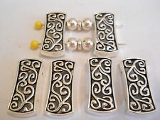 10 SILVER PLATED TIBETAN BALI LARGE RECTANGLE 2 HOLE SLIDER SPACER BEAD BAR
