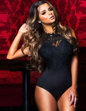 NUOVO Lusso Sexy Nero Teddy Body Top Lingerie Babydoll Taglia M/8-10 UK