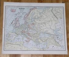 1888 MAP OF EUROPE IN NAPOLEON WARS TIME POLAND DUCHY OF WARSAW VIENNA TREATY