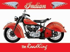 Indian Road King Motorcycle, Classic American Motorbike, Small Metal/Tin Sign