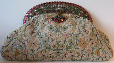 Hobe Rare Beautiful Vintage Faceted Glass Embroidery Beaded Silk Purse
