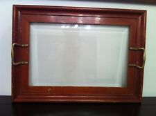Antique Imperial Russian Wooden Glass Tray with Bronze Handles 19th century
