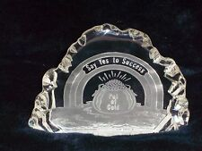 "Paperweight Balzell ""SAY YES TO SUCCESS"" Pot O Gold Glass for Desk St Pattys Day"