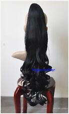 26 inch Black Hair-Piece Wavy Extension Ponytail 1B