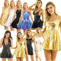 Sexy Women Low Back Leather Wetlook Evening Party Cocktail Club Short Mini Dress