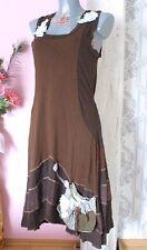 Zauberhände Upcycling Kleid braun Lagenlook Jersey schwingend Shabby Romantik M