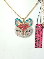 Betsey Johnson Pearl Fox Head Blue Crystal Gold Plated Pendant Necklace
